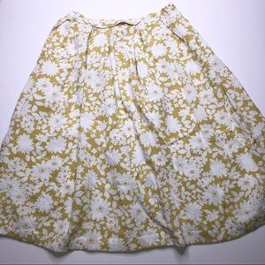 Comme Toi Yellow White Floral A Line Skirt Large